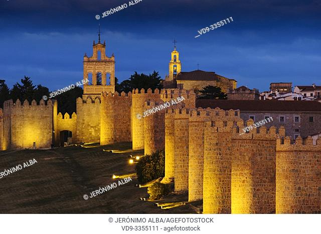 Medieval monumental walls at dusk, UNESCO World Heritage Site. Avila city. Castilla León, Spain Europe