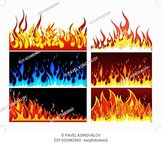 Big collection of fire elements. Fully editable EPS 10 vector illustration