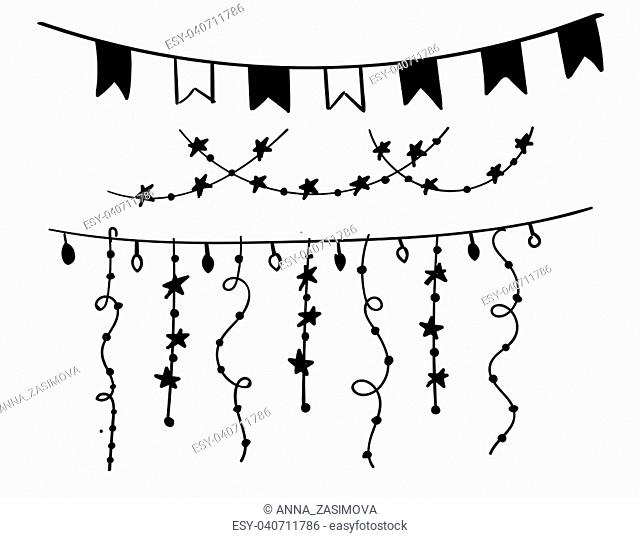 Christmas decorations drawn by hand. Doodle set. Hand - drawn collection of Christmas decoration vector 10 EPS. Vector Collection