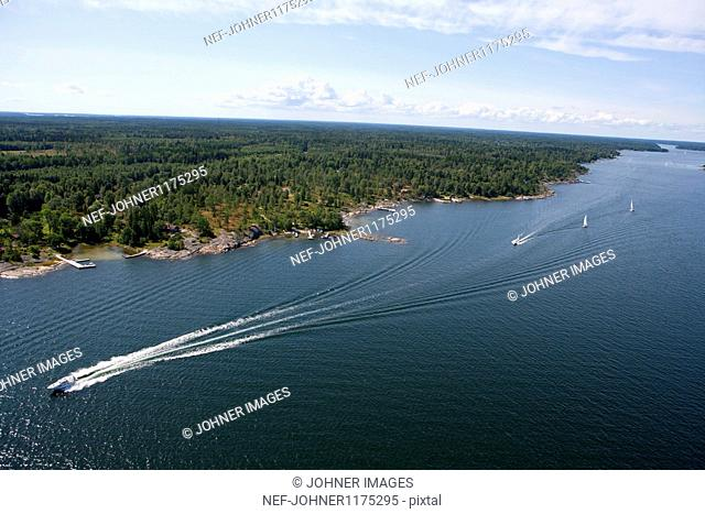 Aerial view of sea channel