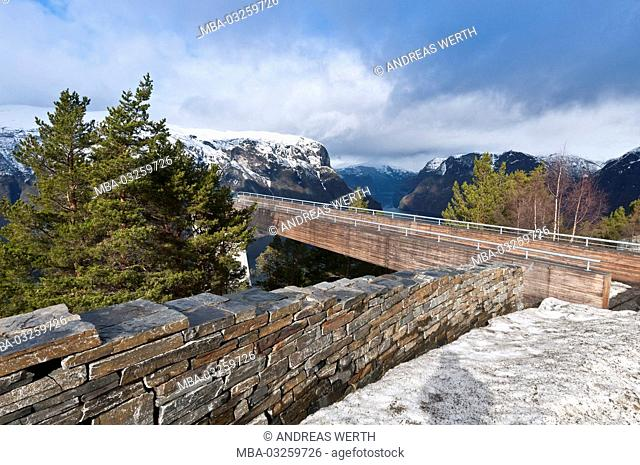 Viewing platform Stegastein, made of wood and stone, above the Aurlandsfjord, a branch of the Sognefjords, winter, Sogn of Fjordane, Norway