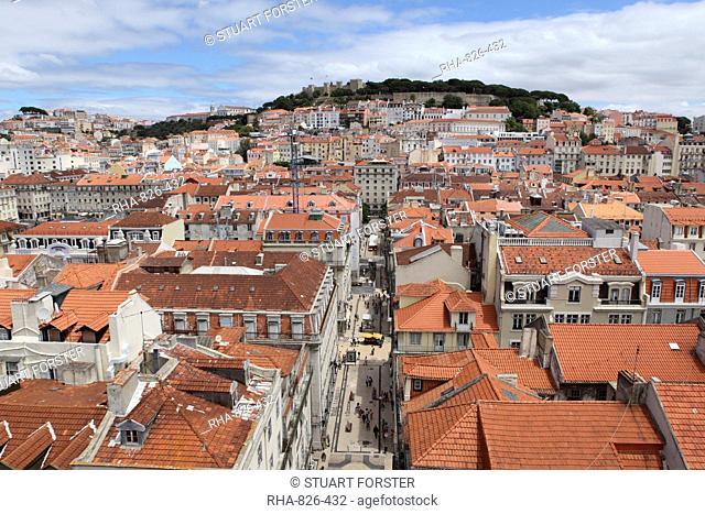 Castelo Sao Jorge looks over buildings of the central Baixa-Chiado, Baixa and Castelo districts of Lisbon, Portugal, Europe