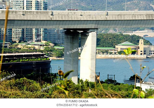 Overlooking Tsing Ma Bridge and Park Island complex from Ma Wan, Hong Kong