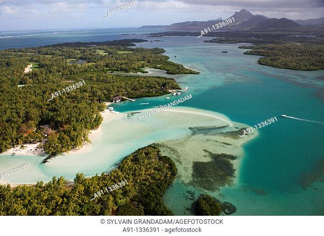 Mauritius, aerial view from an helicopter, Stags island ile aux cerfs and Mangenie islet