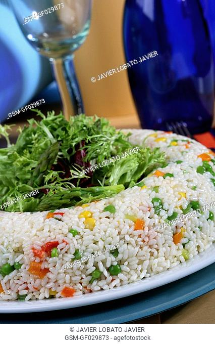 Rice with vegetables crown close up