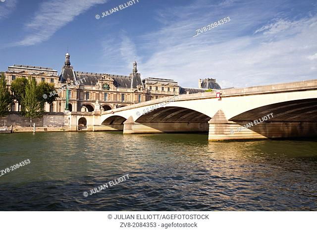 The Louvre Museum and the river Seine in Paris, France
