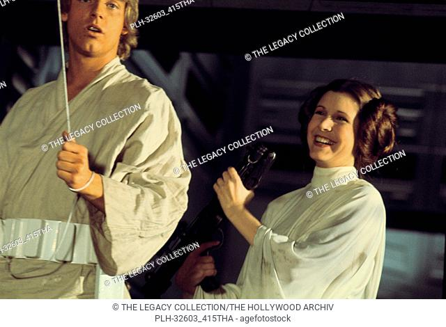 "Mark Hamill and Carrie Fisher on set in""""Star Wars Episode IV: A New Hope"""" (1977)"