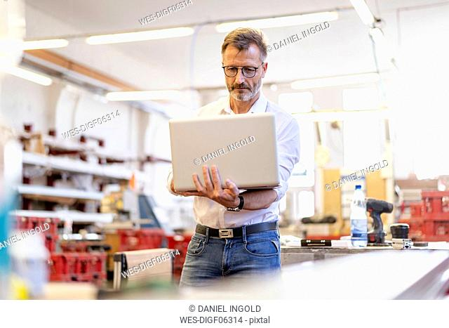 Businessman using laptop in factory