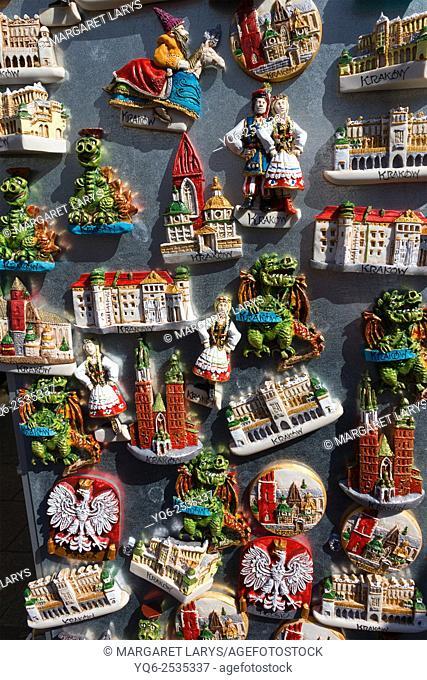 Beautiful krakow fridge magnets in the market, Poland
