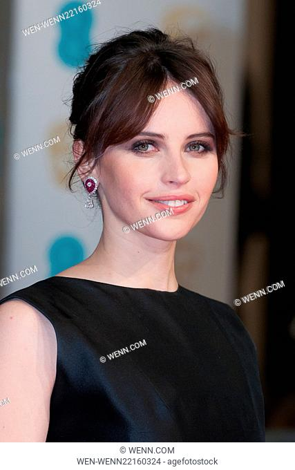 EE British Academy Film Awards (BAFTA) at The Royal Opera House - Red Carpet Arrivals Featuring: Felicity Jones Where: London