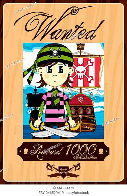 Cute Cartoon Bandana Pirate Buccaneer with Ship Wanted Poster