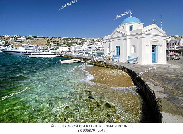 White chapel and the old harbour, Mykonos, Cyclades, Greece, Europe