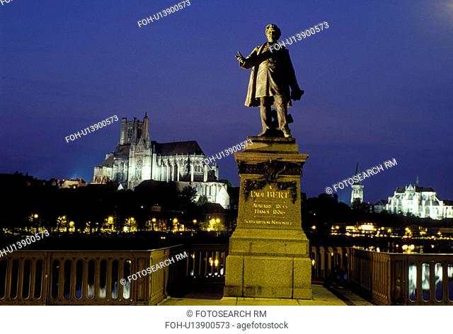 Auxerre, Burgundy, France, Yonne, Bourgogne, Europe, wine region, Statue of Paul Bert along the Yonne River in the city of Auxerre. Cathedral St