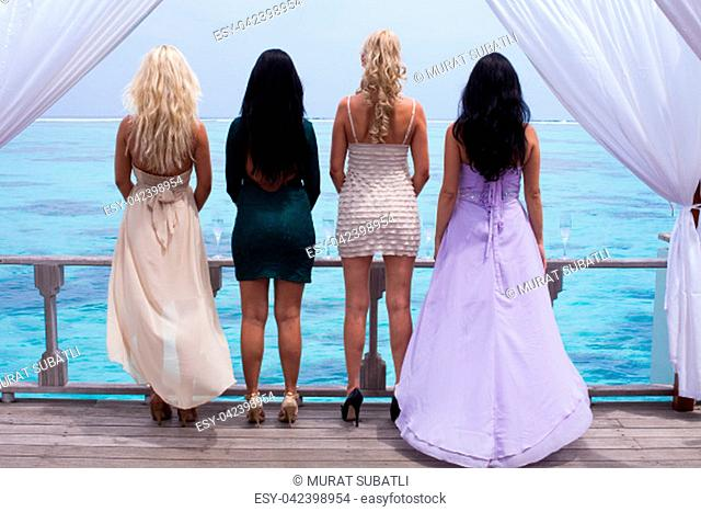 Group girl on Maldives making party