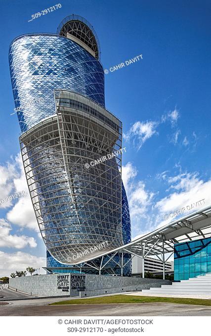 Exterior of the Capital Gate Hotel, designed by the architects RMJM Dubai located in Al Safarat, Abu Dhabi, United Arab Emirates