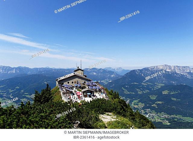 Kehlsteinhaus or Eagle's Nest, Kehlstein Mountain, with Untersberg on the right, Berchtesgaden, Berchtesgadener Land, Upper Bavaria, Bavaria, Germany, Europe