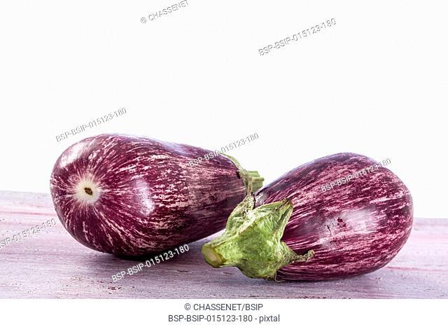 Two graffiti eggplants isolated on white background