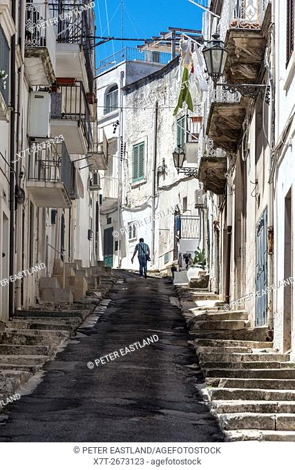 The steep and narrow side streets of Ostuni, Puglia, Italy