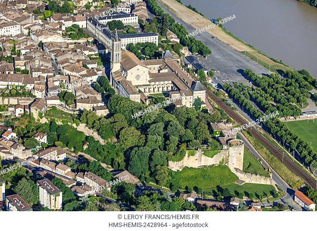 France, Gironde, La Reole, the Quat'Sos castle, the benedictine abbey and Jean Renou school facing the Garonne river (aerial view)