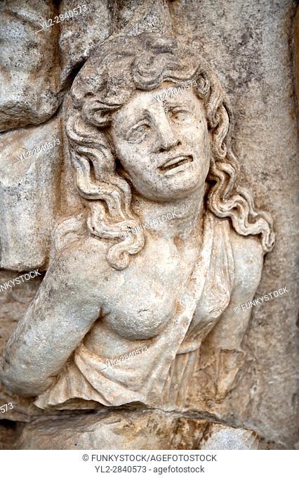 Photo of Roman releif sculpture of a Female Captive. Aphrodisias Archaological Museum, Turkey