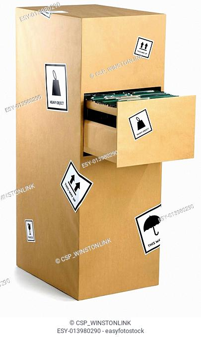 filing cabinet wrapped carefully in brown paper ready for an office move isolated on a white background