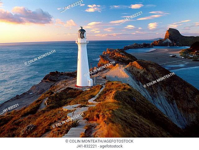 Castlepoint lighthouse and beach Wairarapa Coast North Island New Zealand