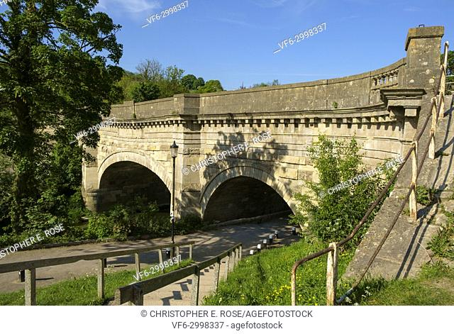Historic Avoncliff Aqueduct carries the Kennet and Avon Canal over the River Avon at Avoncliff in Wiltshire, England