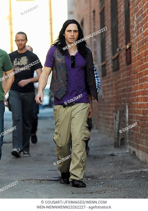 """Actor James Franco spotted with a long wig on the set of """"""""The Disaster Artist"""""""" filming in Hollywood with co star little brother Dave Franco and Seth Rogen"""