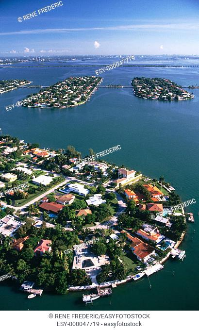 Aerial view of Palm Island in ocean water, Miami. Florida, USA