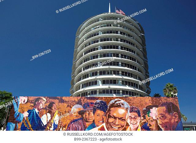Richard Wyatt Hollywood Jazz Mural Capitol Records Tower Vine Street Hollywood Los Angeles California Usa