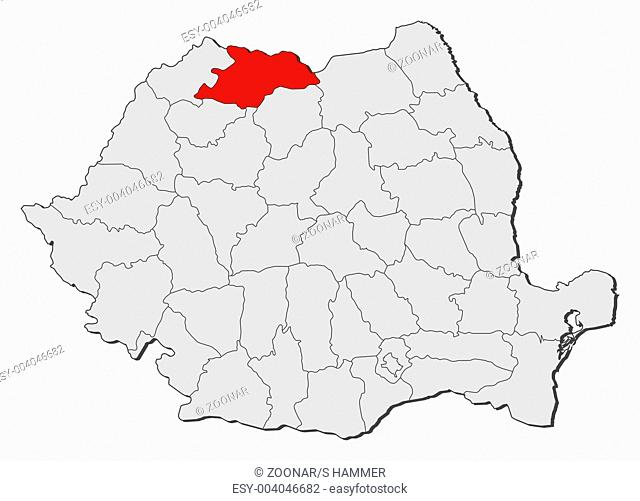 Map of Romania, Maramures highlighted