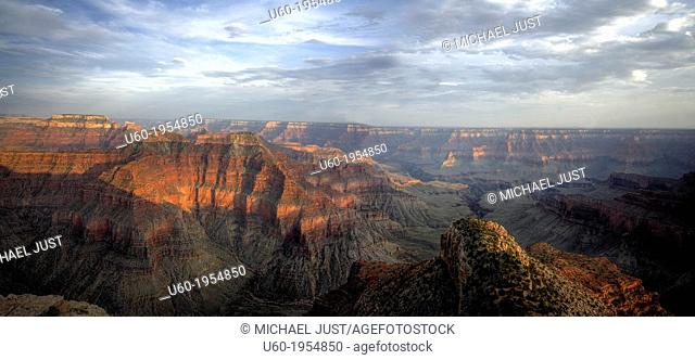 The sun sets in the Grand Canyon from Point Sublime at Grand Canyon National Park, Arizona