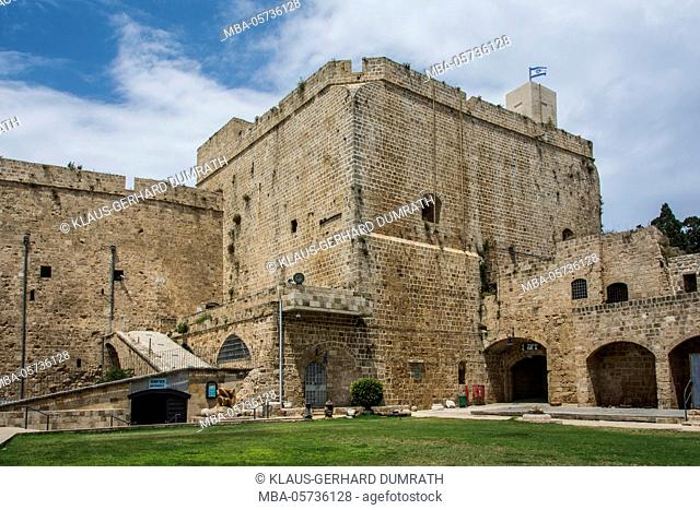 Israel, Akko, old town, citadel, fortified tower, tourists