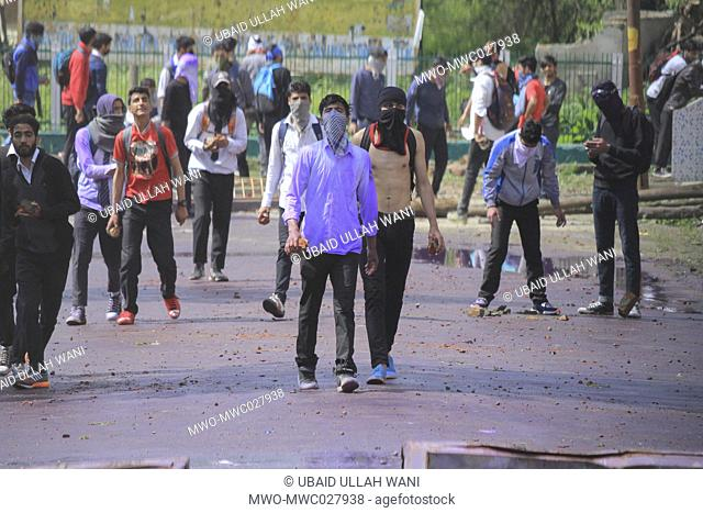 18,April,2018 - Students clash with indian forces during clashes, which erupted between students and government forces when the students were demonstrating...