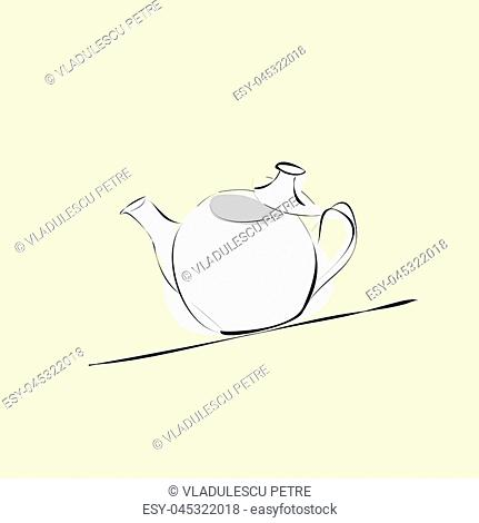 a porcelain teapot on an inclined support