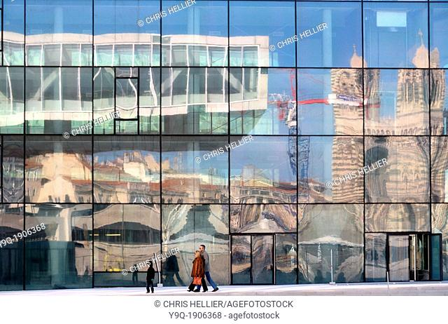 Reflections of Villa Mediterranée & Marseille Cathedral in MUCEM Museum Marseille France