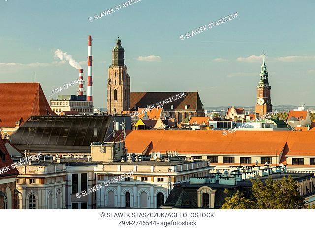 Panorama of Wroclaw old town, Lower Silesia, Poland. Autumn afternoon