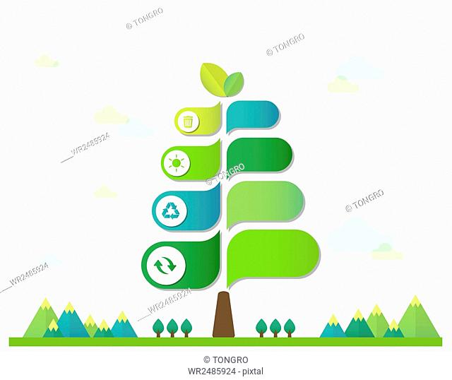 Infographic diagrams of tree with icons related to environmental protection