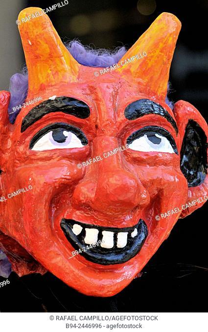 Demon mask. February 12, Celebration of Saint Eulalia martyr, 290-303 AD. Canonized 633 AD. Copatron of Barcelona. Gothic Quarter