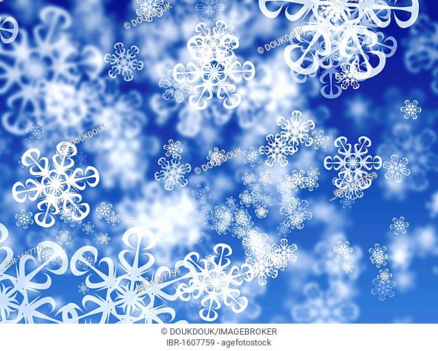 Abstract snowflakes, blue background