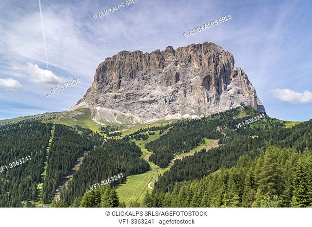 Langkofel shot from Gardena Pass in summer. Bolzano province, Trentino Alto Adige, Italy