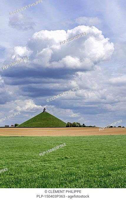 The Lion Hill, monument remembering the 1815 Napoleonic war, the Battle of Waterloo at Braine l'Alleud / Eigenbrakel, Belgium