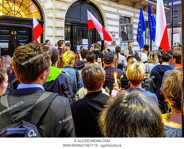 Polish nationals and supporters protest changes to Poland's judicial system in front of the Polish Embassy in London, United Kingdom Featuring: Protesters...