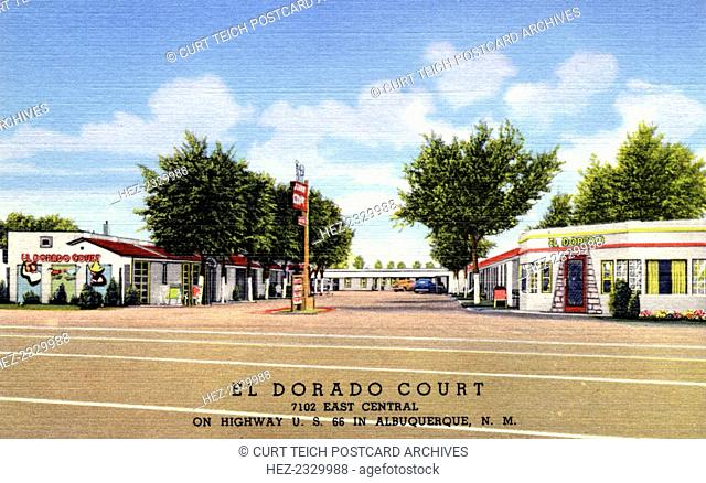 El Dorado Court motel, Albuquerque, New Mexico, USA, 1939. Vintage postcard showing single storey white building with an office in the front and a neon sign
