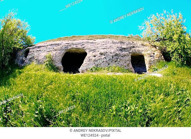 Entrance to the house, Cave City - Baqla (Bean), Bakhchysarai Raion, Crimea, Ukraine, Eastern Europe