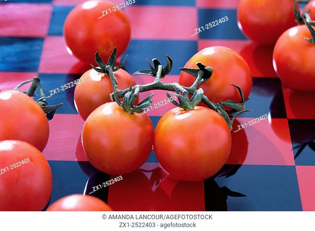 Vined tomatoes on red and black checker board background shot for design inspiration