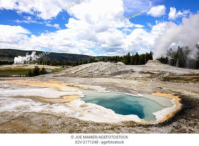 Heart Spring in Yellowstone's Upper Geyser Basin with the Lion Geyser Group and Castle Geyser erupting in the background