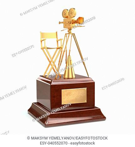Film award. Gold vintage movie camera and chair of the director. 3d