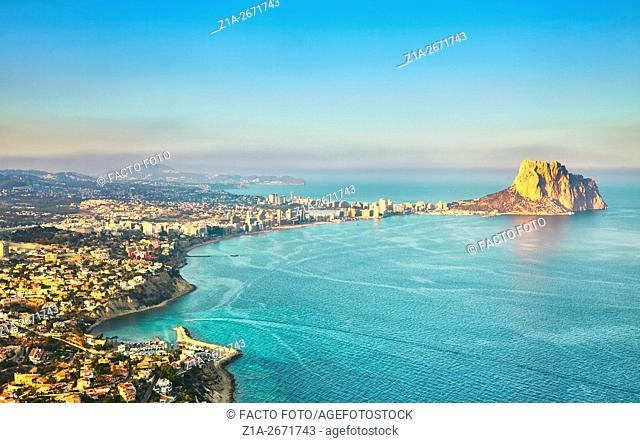 Overview of Calpe town with Penyal d'Ifac. Calpe. Alicante. Valencia Community. Spain