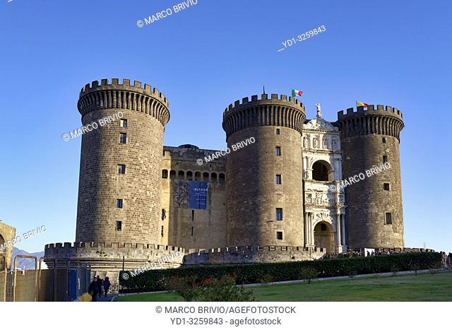 Naples, Campania, Italy. Castel Nuovo(New Castle), often calledMaschio Angioino, is amedievalcastle located in front of Piazza Municipio and the city...
